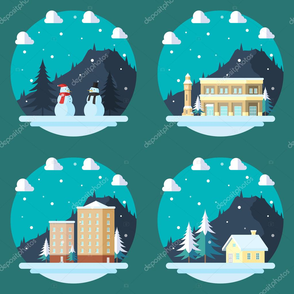 Pack of flat design winter scenes