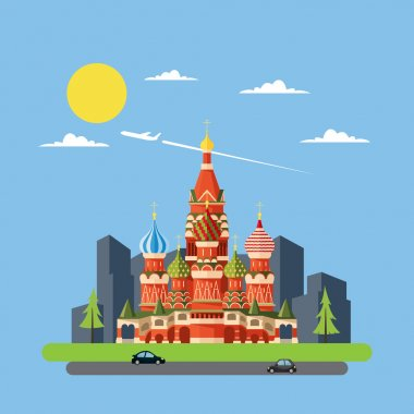 Flat design of Russia castle
