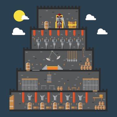 Flat design of castle dungeon internal