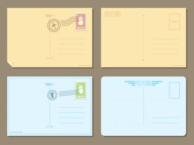 Flat design of 4 postcards