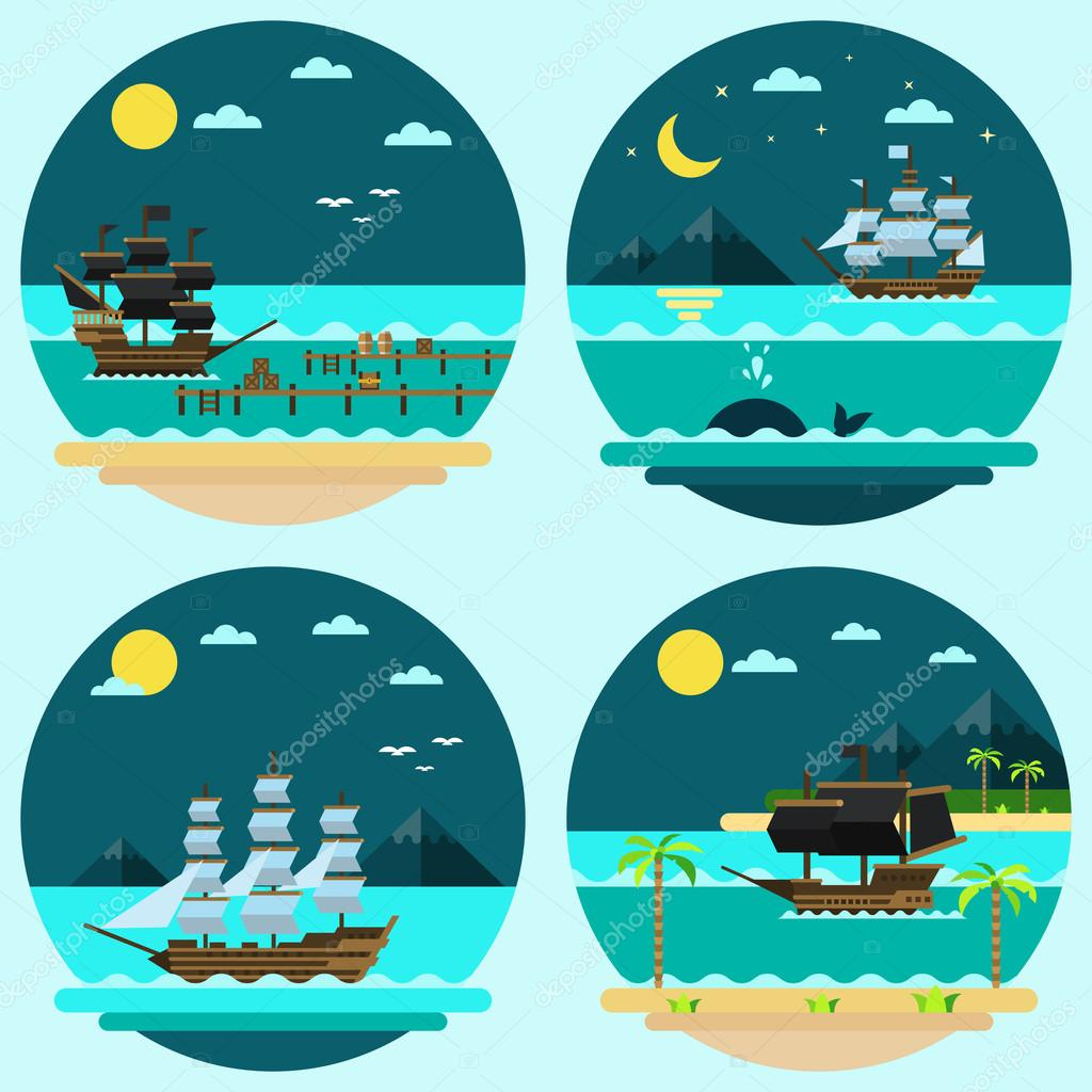 Flat design of pirate ships sailing