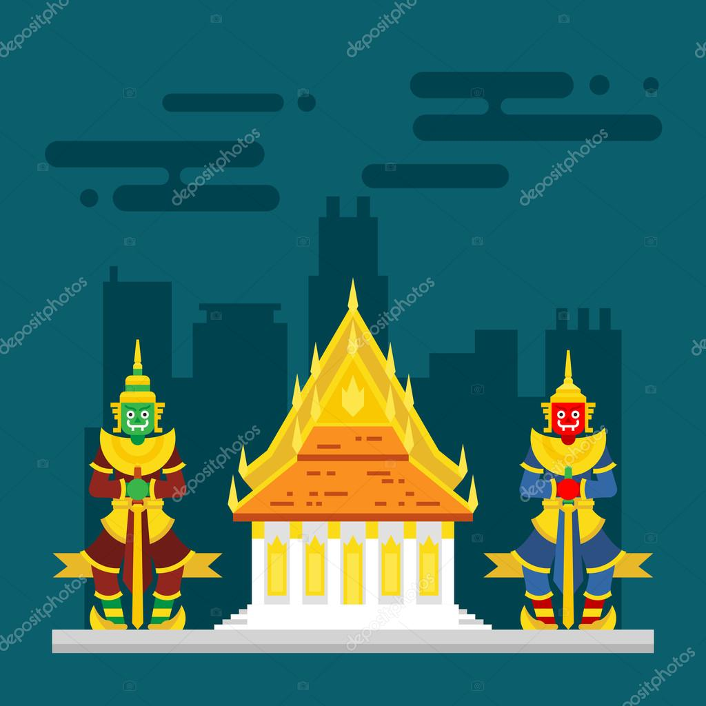 Thailand temple with two giants guarding