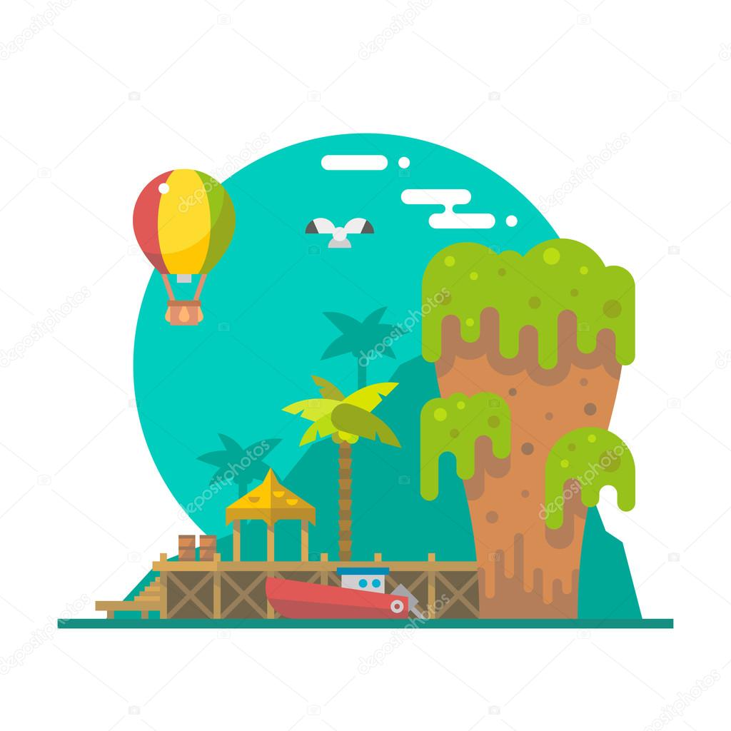 Flat design of Tapu island at Phang nga, Thailand