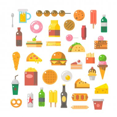 Flat design of junk food set