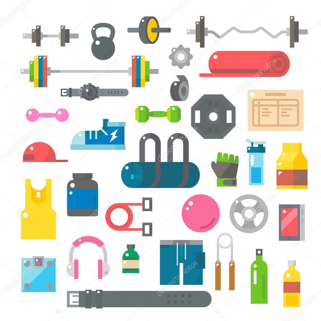 Flat design of gym items set