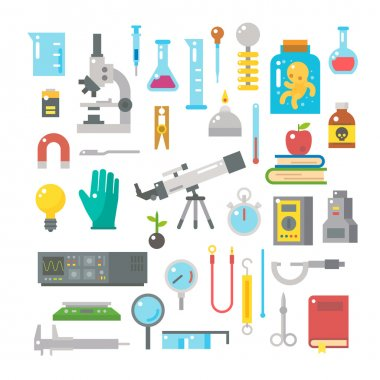 Flat design of science equipments set