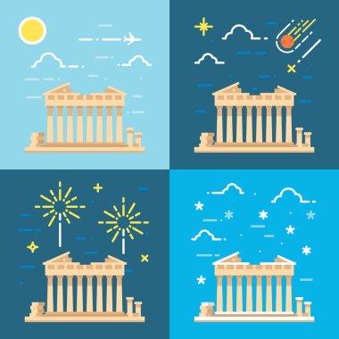 Flat design 4 styles of Parthenon Athens Greece