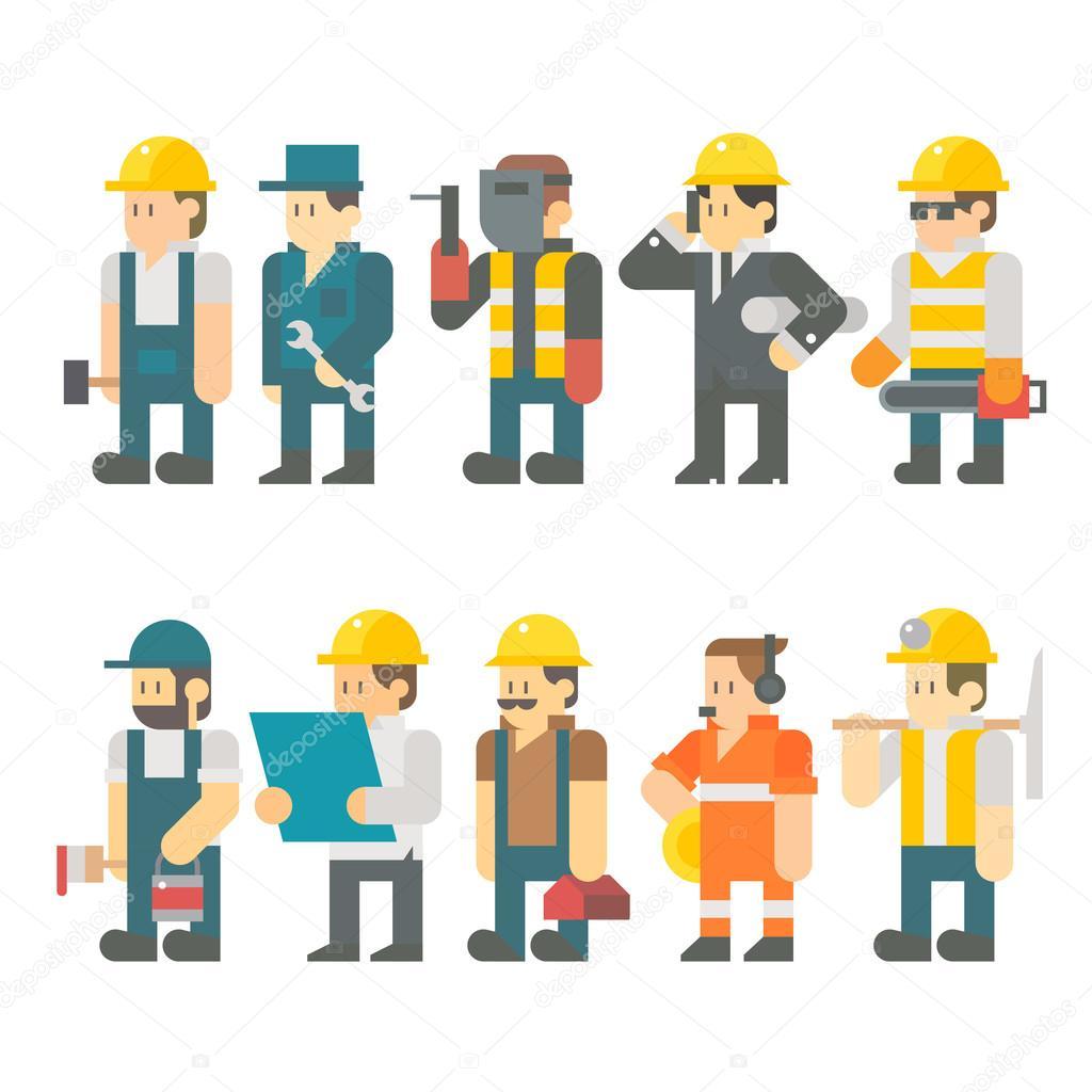 Flat design of construction worker set