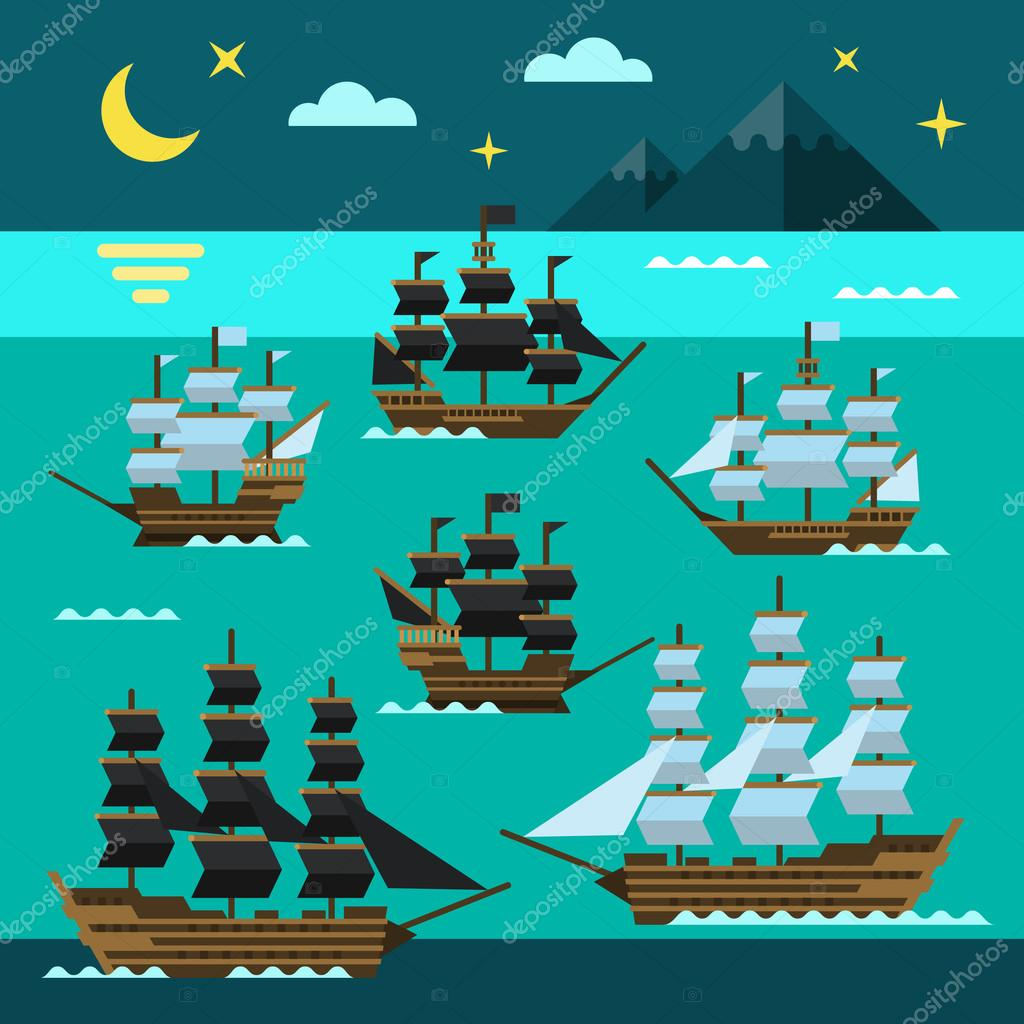 Sailing pirate ships set