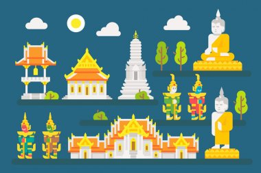 Thailand temple infographic elements set