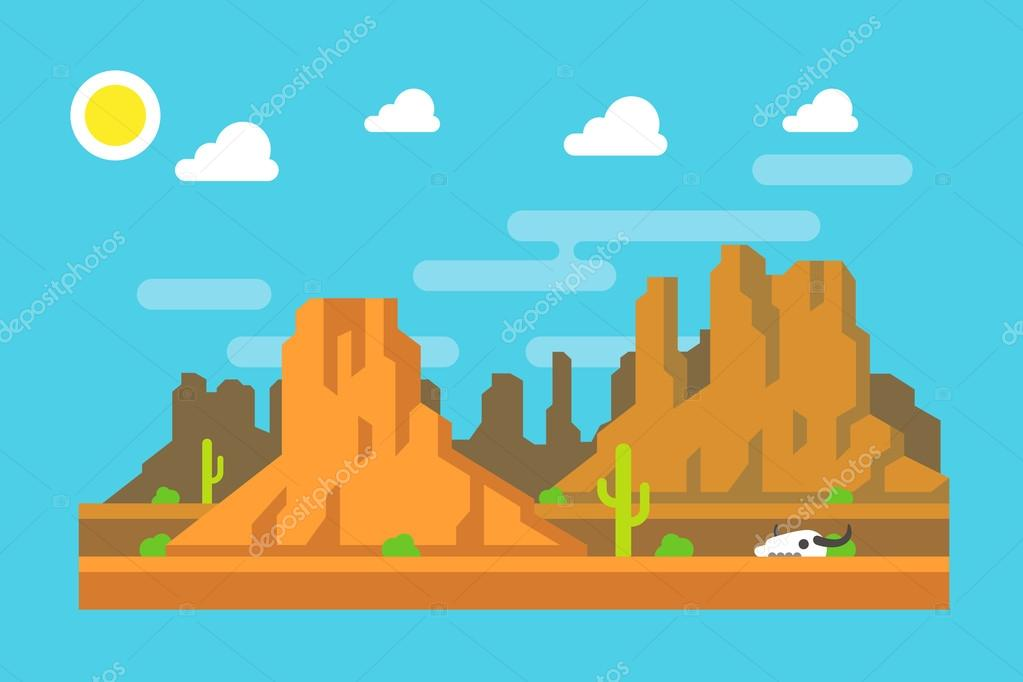 Wild west Arizona mountain flat design