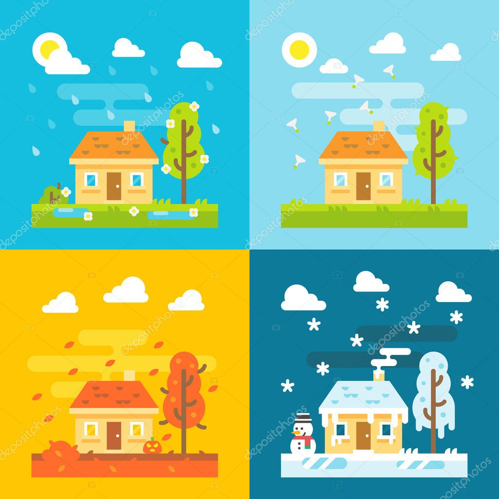 4 seasons house flat design set