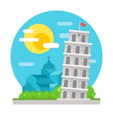 Leaning tower of Pisa flat design landmark