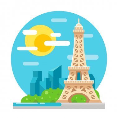 Eiffel tower flat design landmark