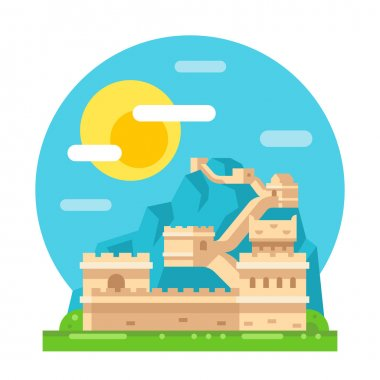 Great wall of China flat design