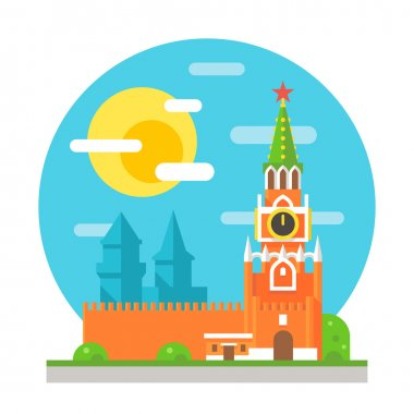 Kremlin clock tower flat design