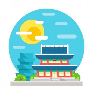 Changdeokgung palace flat design landmark