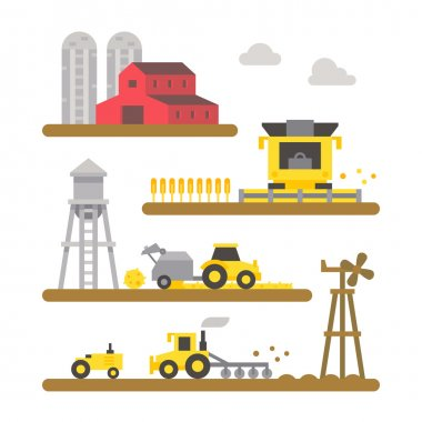 Farm land machineries flat design
