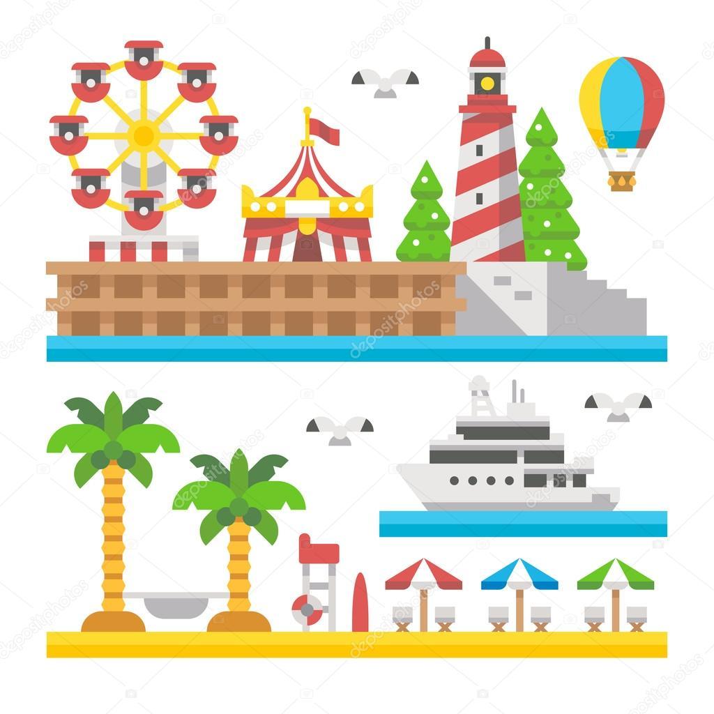 Flat design beach carnival park