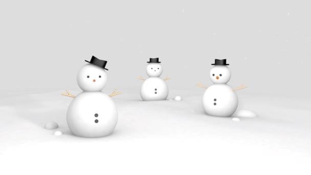 Tři sněhulák na zemi