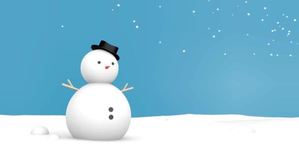 Veselé Vánoce a sněhulák modrým pozadím