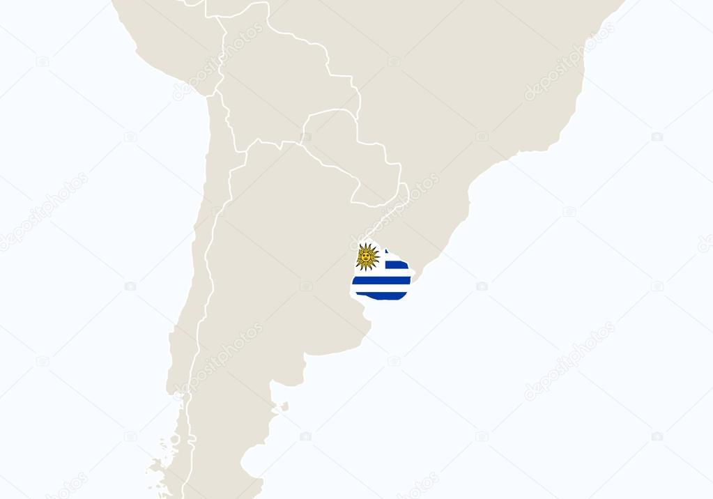 Carte Amerique Latine Uruguay.L Amerique Du Sud Avec La Carte De L Uruguay En Surbrillance Image