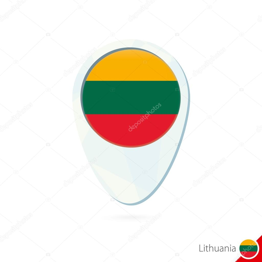 Lithuania flag location map pin icon on white background Stock