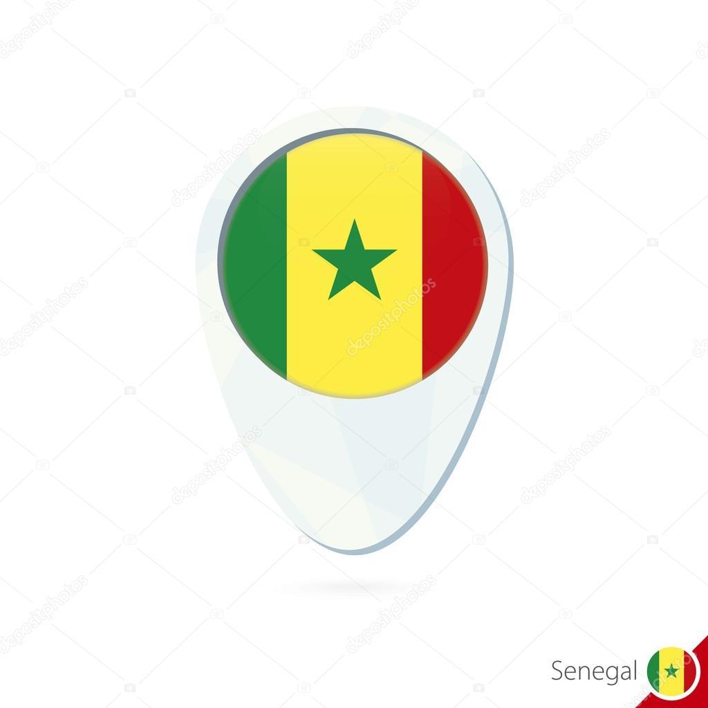 Senegal flag location map pin icon on white background Stock