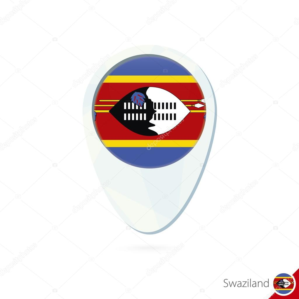 Swaziland flag location map pin icon on white background Stock