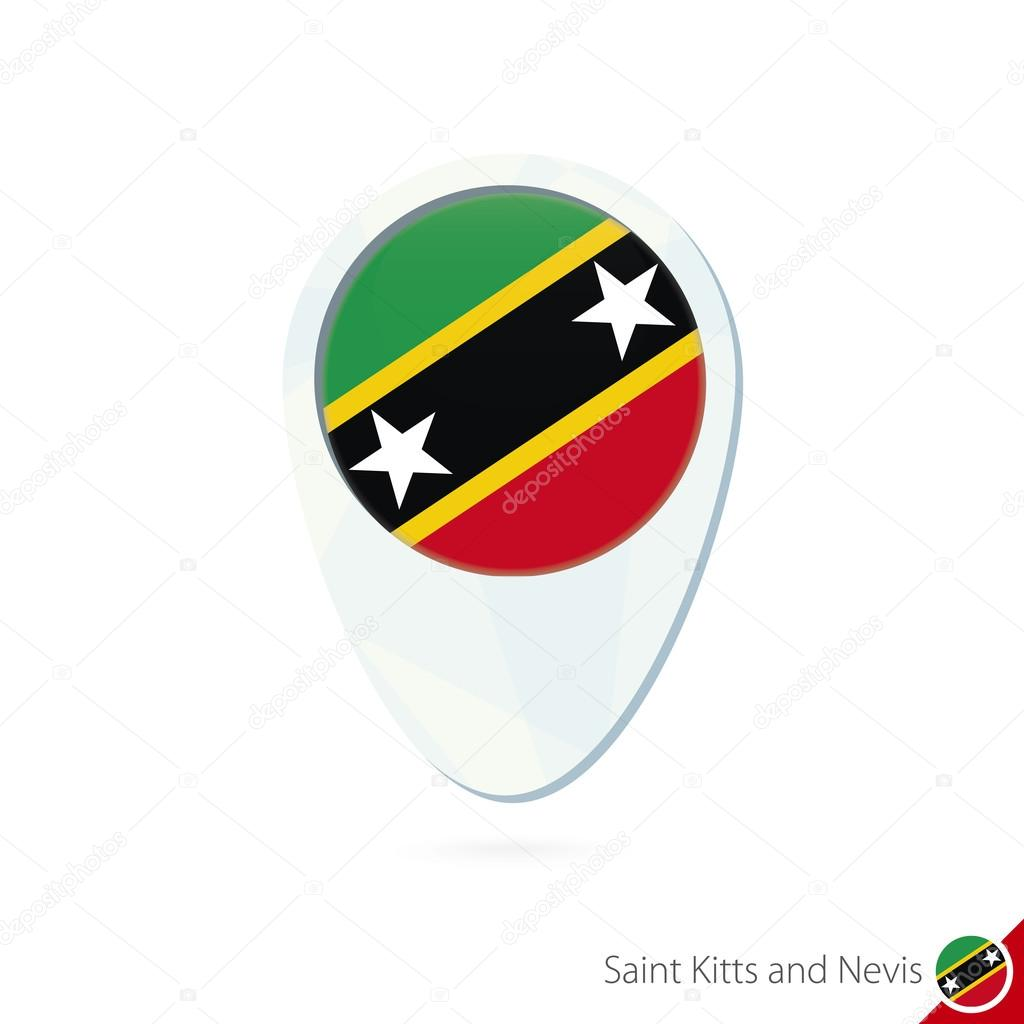 Saint Kitts and Nevis flag location map pin icon. — Stock ...