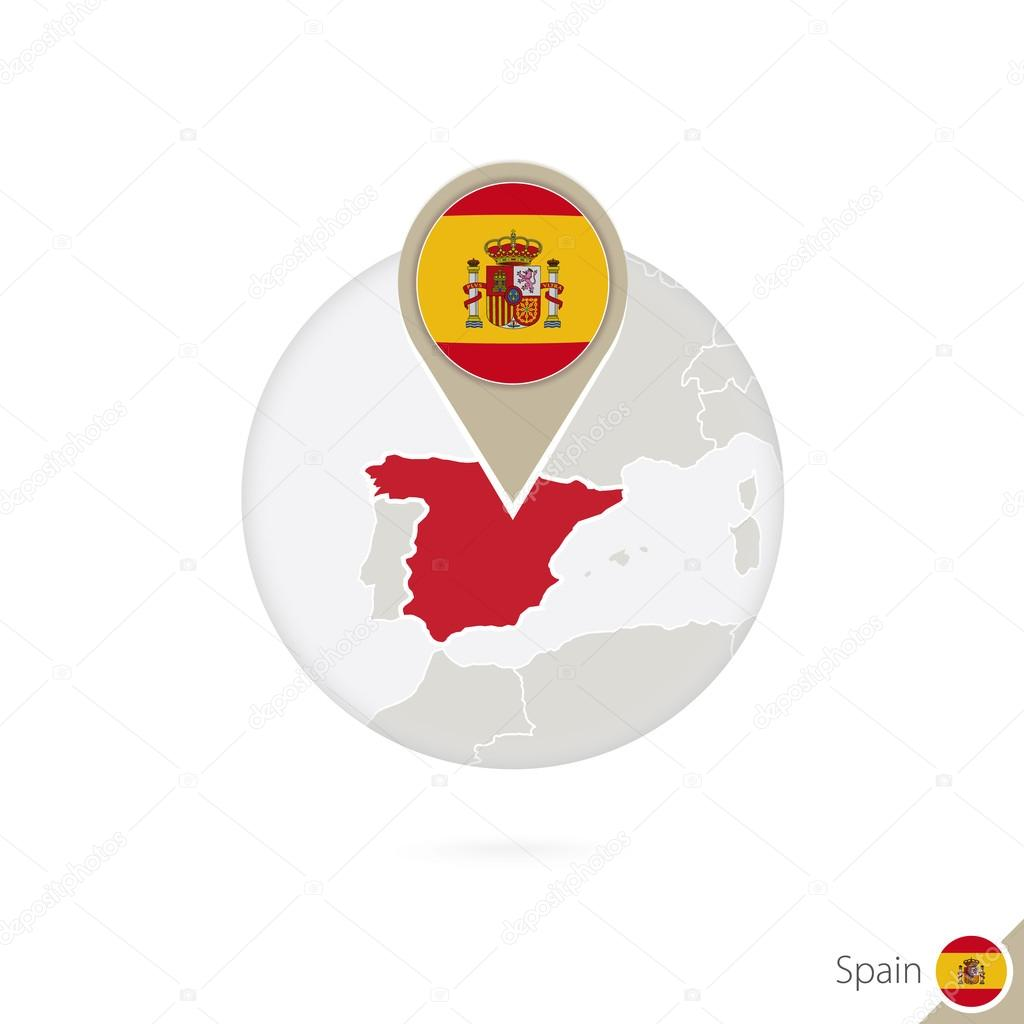 Spain Map Flag.Spain Map And Flag In Circle Map Of Spain Spain Flag Pin Stock