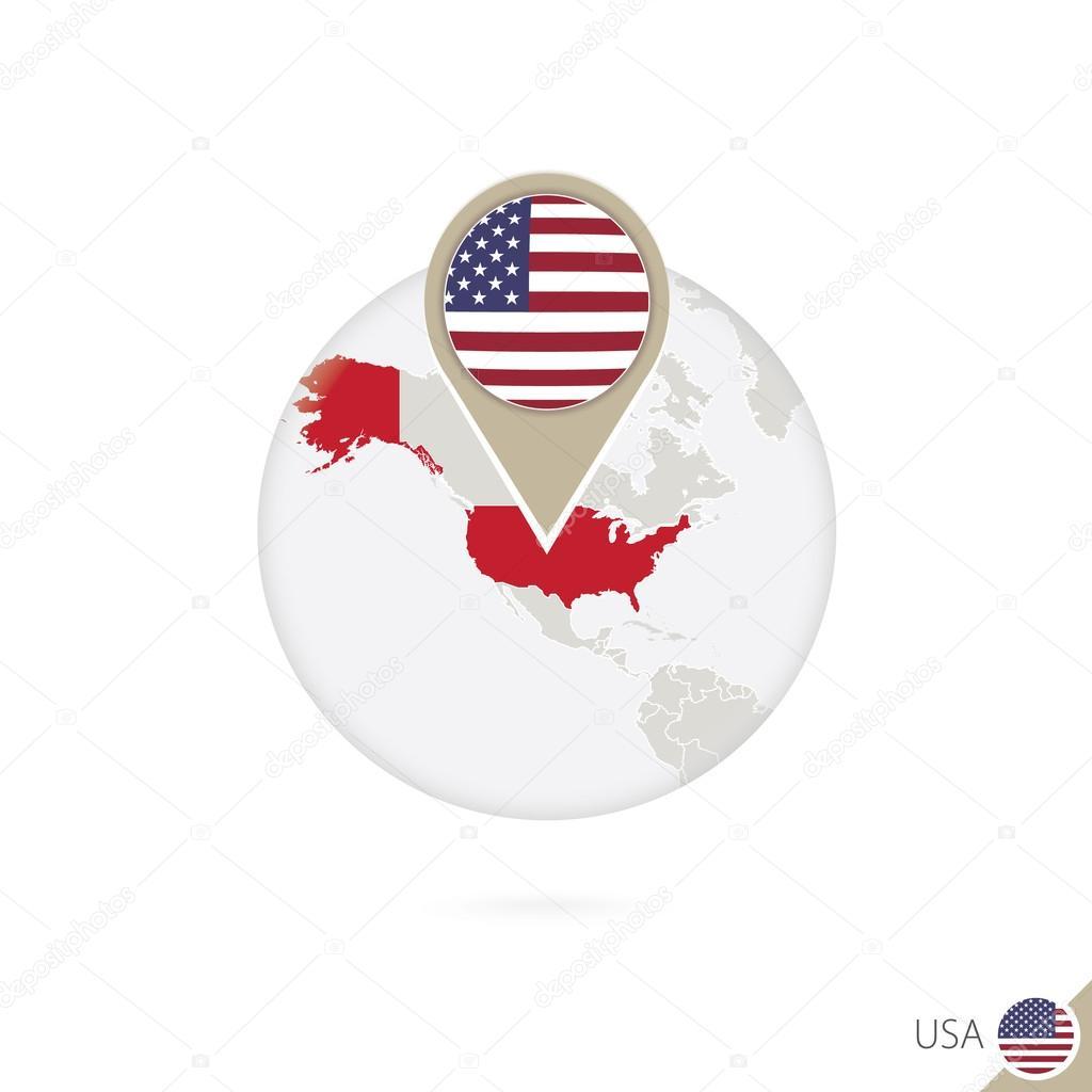 usa map and flag in circle map of usa usa flag pin map of usa