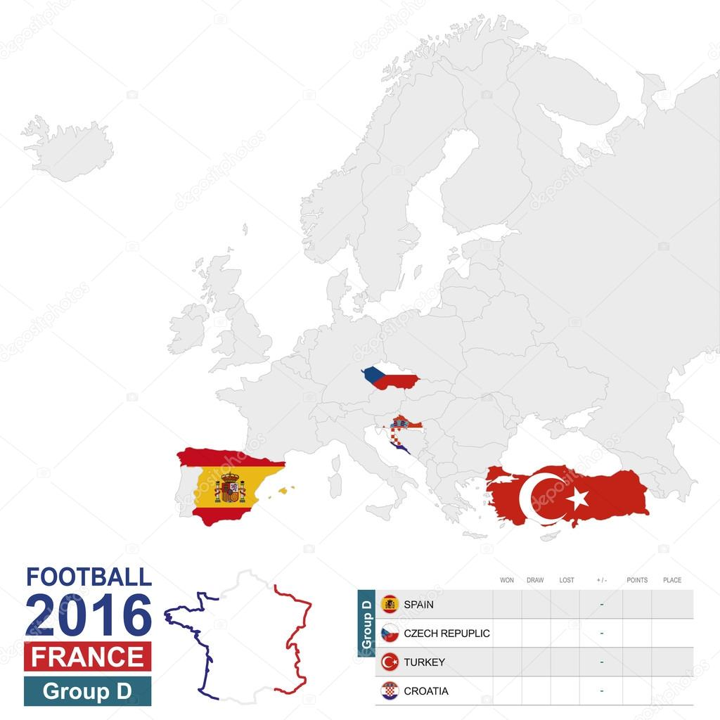 Football Map Of Spain.Football 2016 Group D Highlighted On Europe Map Stock Vector