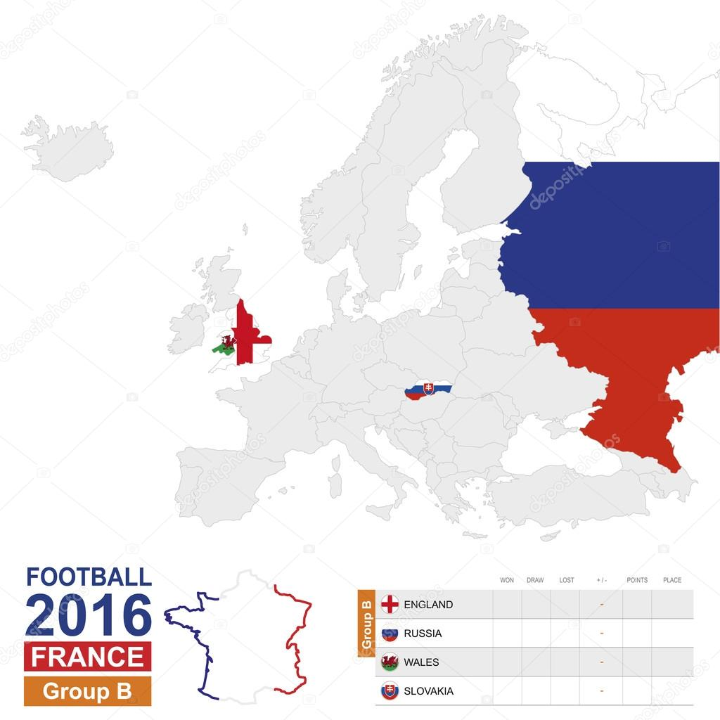 Football 2016 group b highlighted on europe map stock vector football 2016 group b table group b highlighted on europe map england russia wales slovakia map of europe vector illustration vector by boldg gumiabroncs Gallery