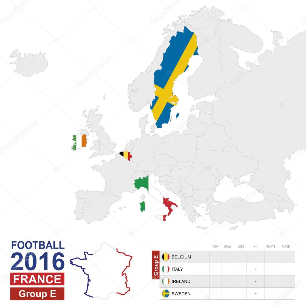 Football 2016 group e highlighted on europe map stock vector football 2016 group e table group e highlighted on europe map belgium italy ireland sweden map of europe vector illustration vector by boldg gumiabroncs Choice Image
