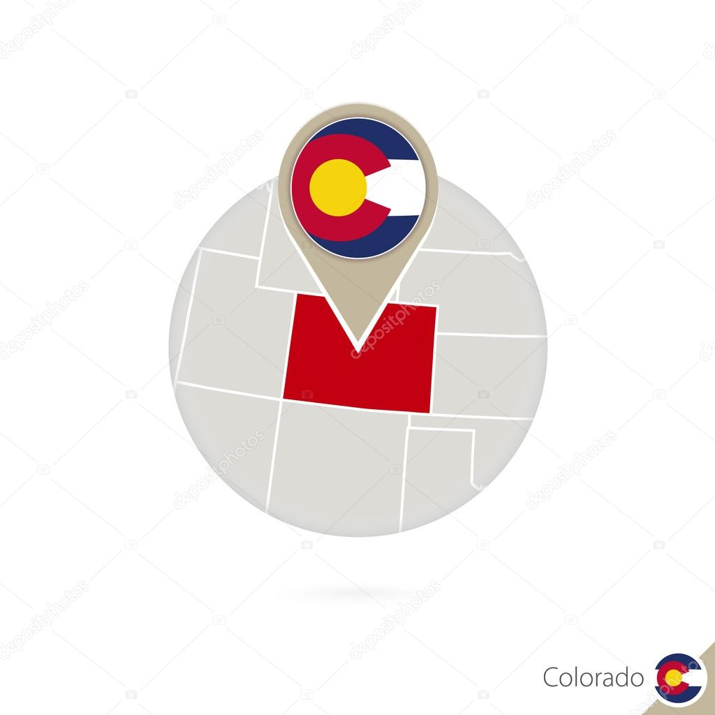 Colorado US State map and flag in circle. Map of Colorado ...