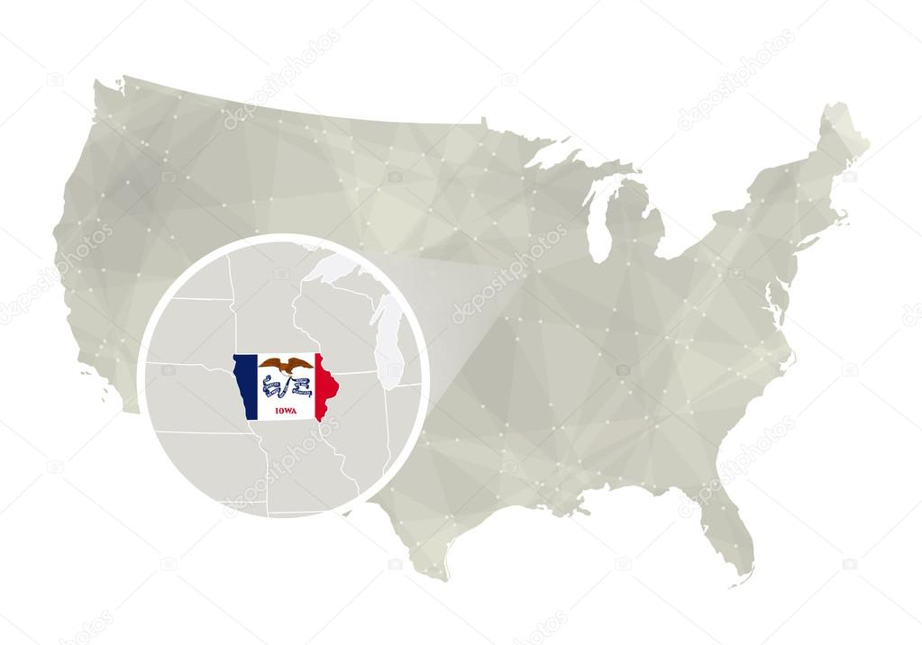 Polygonal abstract USA map with magnified Iowa state Stock