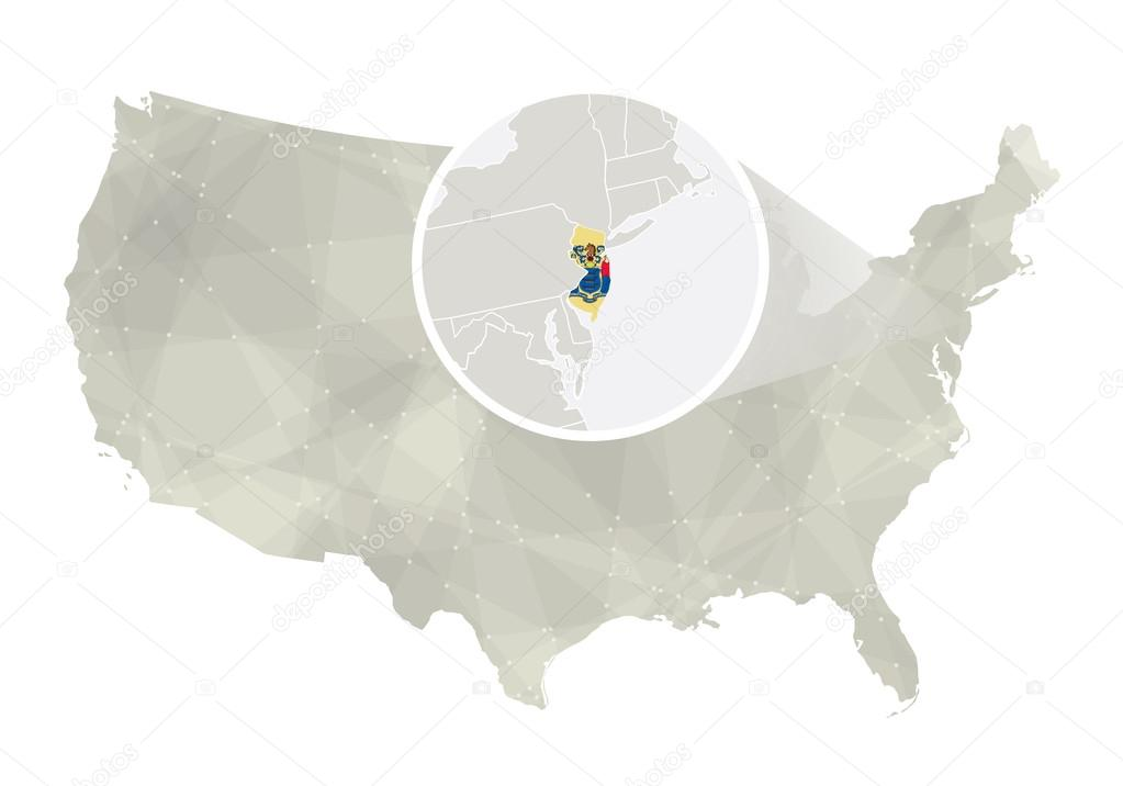 Polygonal abstract USA map with magnified New Jersey state ...