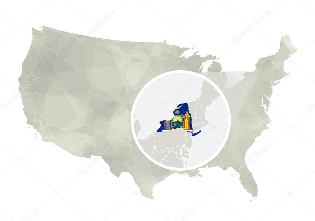 Polygonal abstract USA map with magnified New York state ...