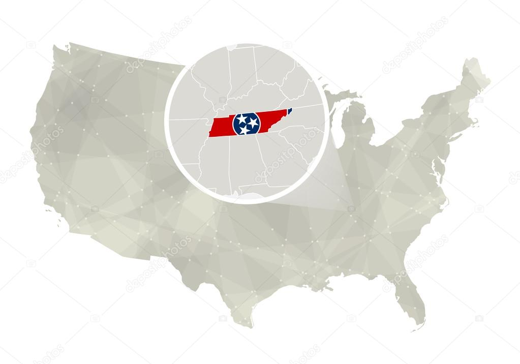 Polygonal abstract USA map with magnified Tennessee state ...