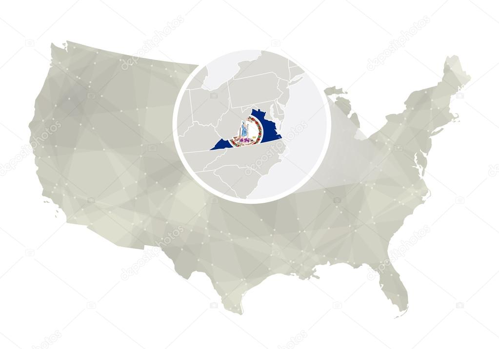 Polygonal abstract USA map with magnified Virginia state ...