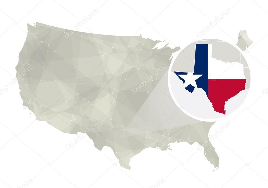 Polygonal abstract USA map with magnified Texas state Stock