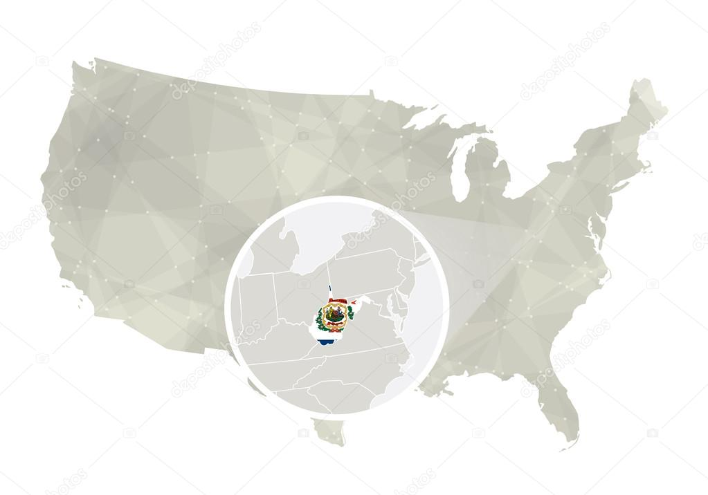 Polygonal abstract USA map with magnified West Virginia ...