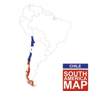 South America contoured map with highlighted Chile.