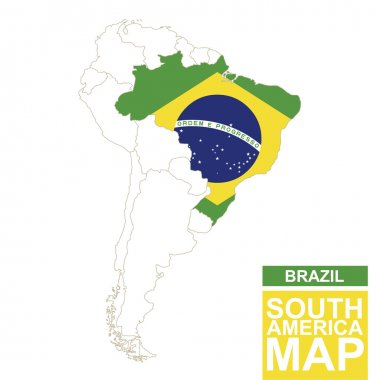 South America contoured map with highlighted Brazil.