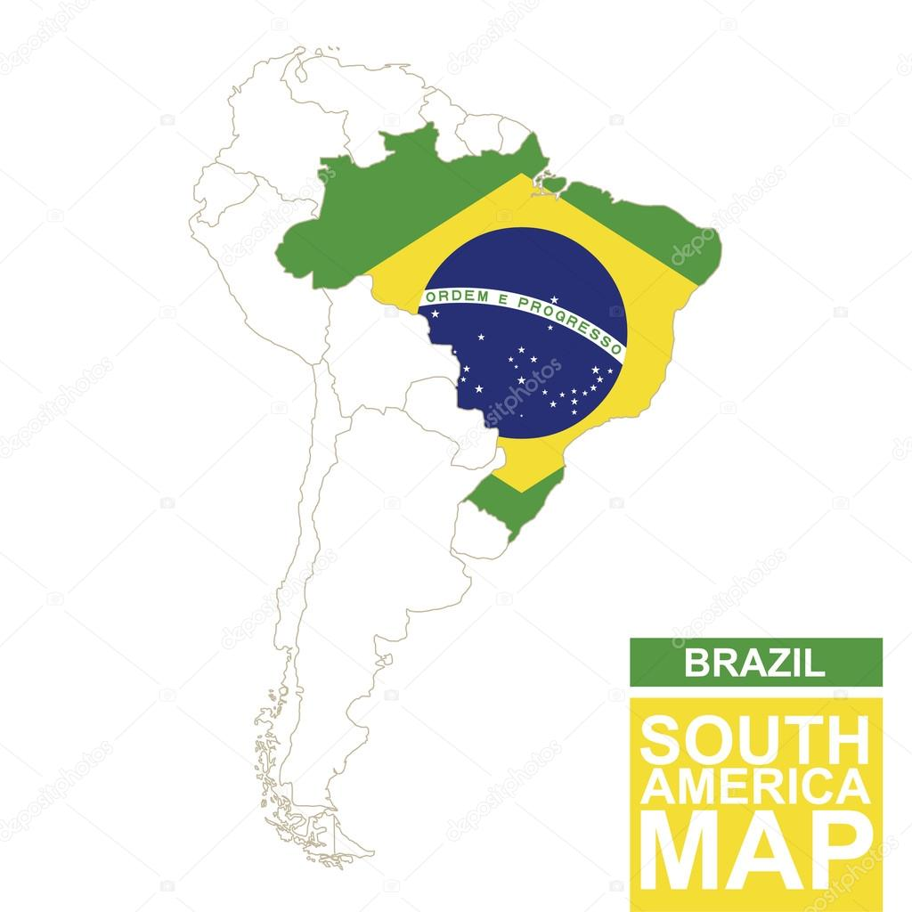 South america contoured map with highlighted brazil archivo south america contoured map with highlighted brazil brazil map and flag on south america map vector illustration vector de boldg gumiabroncs Images