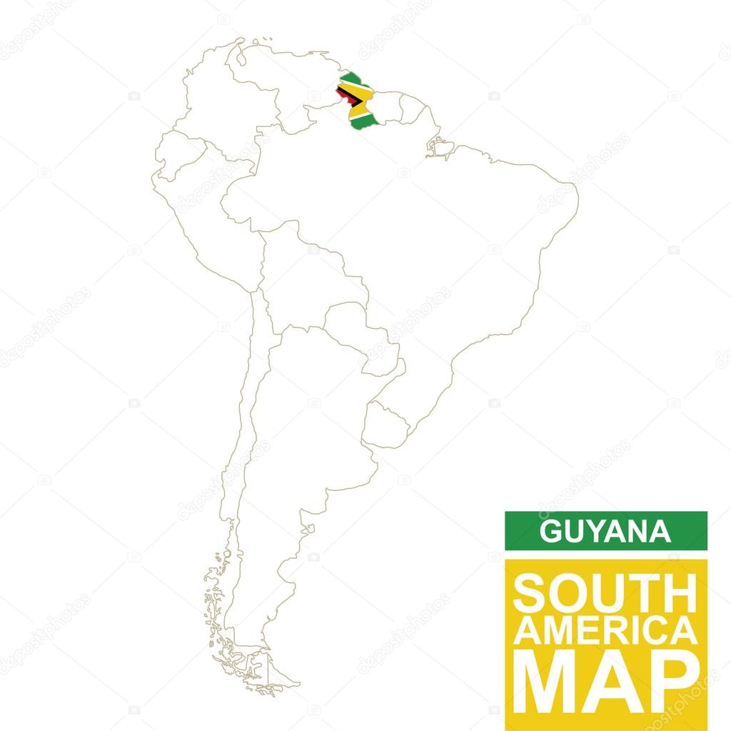 South America contoured map with highlighted Guyana. — Stock Vector ...