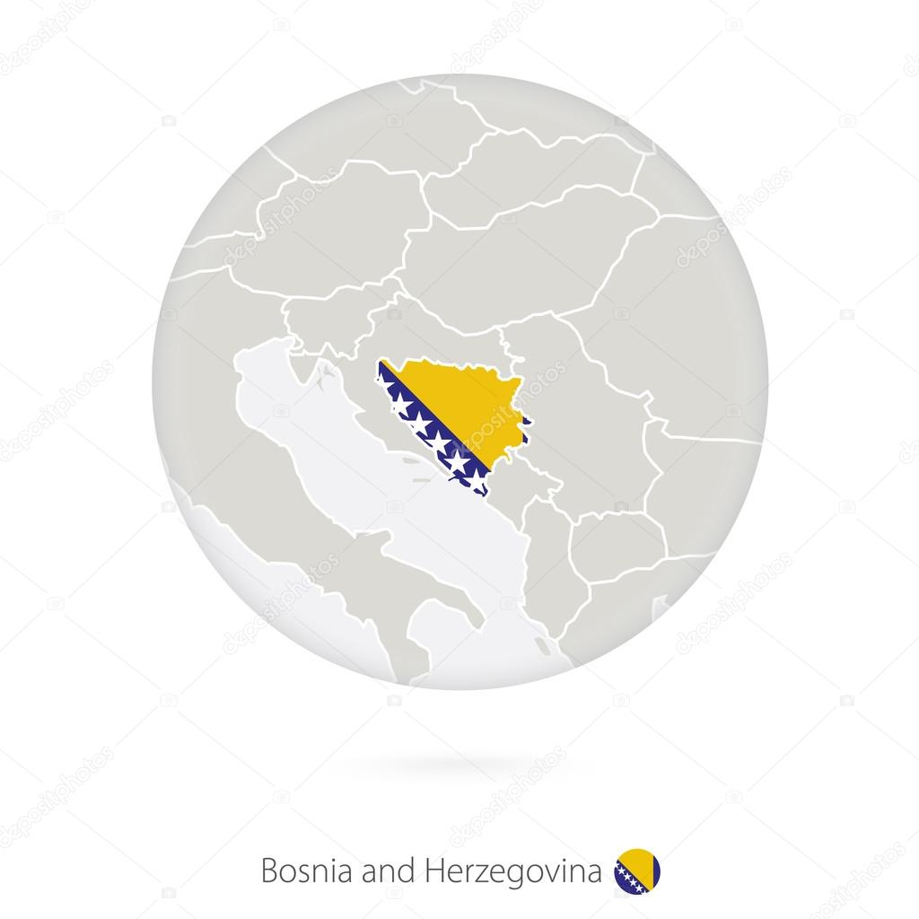 Karta Over Bosnien Hercegovina.Karta Over Bosnien Och Hercegovina Och Nationella Flagga I En Cirkel