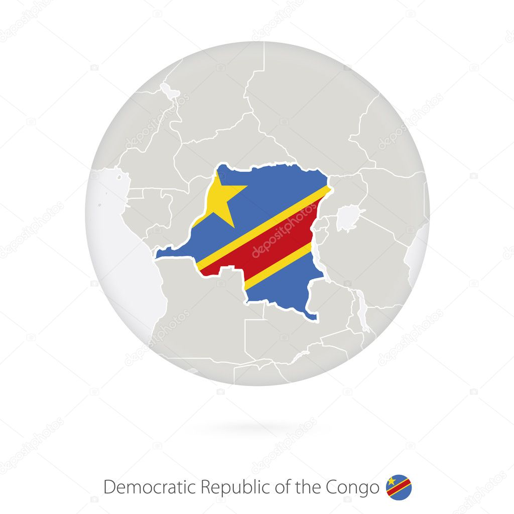 Map of Democratic Republic of the Congo and national flag in a c ...