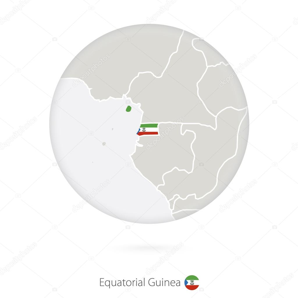 Map of Equatorial Guinea and national flag in a circle ...